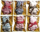 タオルの萩原 可愛いタオルハンカチで作った手造りベアー(クマ)6個セット 色柄おまかせ ラッピング袋入り ベア6P