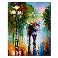 (Frameless, Walking in the Rain) - Rihe Paintworks Paint By Number Kits Diy Oil Painting Walking in the Rain Unique Gift 4110cm (Frameless)