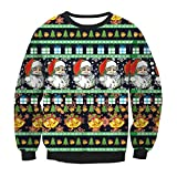Zhhlaixing セーター レディース 秋冬 Multicolor Santa Claus Ladies Sweater Loose Pullover Tops Ugly Christmas Costume Long Sleeve
