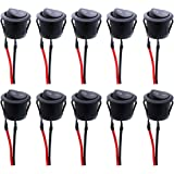 Twidec/10Pcs AC 6A/250V 10A/125V SPST 2 Pins 2 Position On/Off Car Boat Round Black Rocker Switch Toggle with Pre-soldered Wi