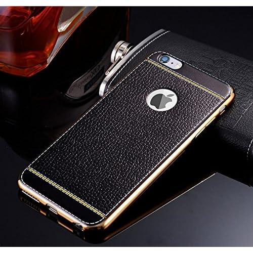 Quncle Luxury 大人気 iPhone SE iPhone5s iPhone5 iphone6 iphone6s iphone7 ケース おしゃれ ☆ Dignity 【 オリジナル強化ガラスフィルム ・ 充電ケーブル ・ ホームボタンステッカー 付き】 (iPhone 6/6s, ブラック)