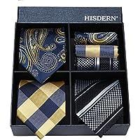 HISDERN Lot 3 PCS Classic Men's Tie Set Necktie & Pocket Square Multiple Set Elegant Business Party Neck Ties Present Collection