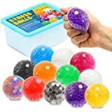 Sensory Stress Ball Toy Set for Kids and Adults, 12 Pack Stress Relief Fidget Balls Filled with Water Beads to Relax, Decompr