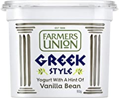 Farmers Union Natural Greek Style Yoghurt with Vanilla bean, 950g - Chilled