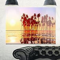 デザインアートmt10823–20–12美しい行のCoconut Palms onビーチExtra Largeシースケープメタル壁アート、レッド/オレンジ、20x 12