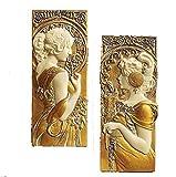 アールヌーボー ウォール彫刻(彫像)「春 秋」アルフォンス・ミュシャ作 / Art Nouveau Wall Sculpture Statue/Spring & Autumn Inspired Alphonse MUCHA(並行輸入品)