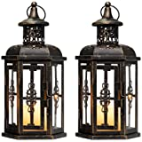 JHY Design Small Decorative Lanterns (Set of 2 Black with Gold Brush)
