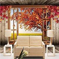Xbwy カスタム3D風景写真の壁紙自然秋の風景黄色の葉壁壁画ホーム改善寝室の部屋テレビの背景-250X175Cm