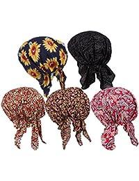 レディース5 Pack Ethnic Flower印刷Pre Tiedヘッドスカーフターバン帽子キャップfor Cancer