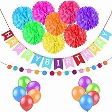 お誕生日 飾り付け セット ペーパーフラワー×8 個 HAPPY BIRTHDAY ガーランド 風船 バルーン 10個 ガーランドサークルドット祝日、部屋の飾り パーティー デコレーション カラフル 豪華 20点 Esonmus