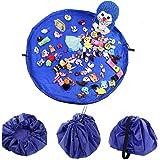 おもちゃ収納バッグ 子どもプレイマット 大容量 直径150cm 折り畳み式のベビー玩具収納袋 お片付け簡単 収納用品