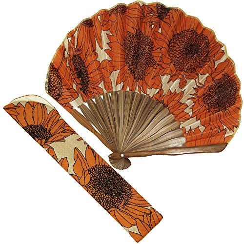扇子 女性 扇子袋・ハンカチセット ひまわり(オレンジ) 箱入り おしゃれ ポリエステル 女性用 レディース 扇子