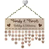 QTIVY Family and Friends Birthday Anniversary Calendar Wood Wall Sign Reminder Family Celebration Reminder Board Creative Gif