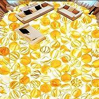 Wuyyii 3Dステレオ黄色ガラスクリスタルボール自己接着床ステッカー寝室のバスルームホテルモールの壁紙壁画-120X100Cm