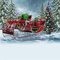 LFEEY 10x10フィート クリスマス 雪 背景 冬 屋外 雪 景色 レトロ そり 装飾 クリスマス ツリー プレゼント 雪 カバー 風景 背景 写真 写真 スタジオ 小道具