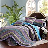Comforbed Striped Jacquard Style 3-Piece Patchwork Bedspread Quilt Sets Queen