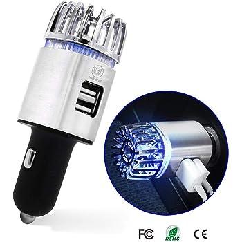 車載空気清浄器 空気清浄機 イオン発生機 エアクリーナー 2in1 USBイオン発生器 静音 12V車専用 (シルバー)