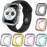 6本の腕時計スクリーン保護ケース、AFUNTA互換Apple Watchシリーズ4ケース40mmオールラウンドTPUバン…