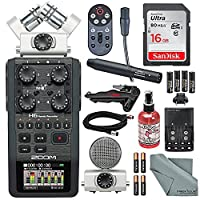 Zoom H6 Portable Recorder with Interchangeable Mic System Bundle with Audio-Technica AT899 Condenser Lavalier Microphone + 16 GB + FiberTique Cloth + Batteries + More [並行輸入品]