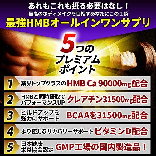 『HMBプレミアムセレクト【HMBCa90,000mg/クレアチン31,500mg/BCAA31,500mg/ビタミンD】大容量450粒の決定版HMBサプリ』の3枚目の画像