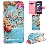 手帳型 シェル 可愛い キラキラ iPhone5 iPhone5s iPhoneSE iPhone6 iPhone6s ケース スターフィッシュ 高品質 (iPhone5/5S/SE, シェル)