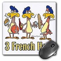 3drose LLC 8x 8x 0.25インチマウスパッド、3つフランス語Hens ( MP _ 104425_ 1)