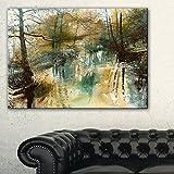 """DesignArt川と木油彩画風景キャンバスプリント絵画、20"""" x 12インチ、ブラック"""