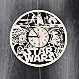 Star Wars スターウォーズ木製掛け時計ー完璧で美しく作られたー現代アートで自宅を飾ろうー彼と彼女にユニークなギフトーサイズ12インチ(30 ?)