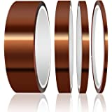 ELEGOO High Temp Tape, 4 Pack Polyimide High Temperature Resistant Tape Multi-Sized Value Bundle 1/8, 1/4, 1/2, 1 With Silico