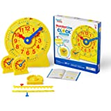 hand2mind Number Line Clock for Kids Classroom Set, Math Manipulatives for Telling Time, Montessori Toys For Toddlers, Learni