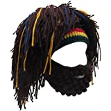 ALL IN ONE CART Creative Original Barbarian Knit Beard Hat Wig Beanie Hat Funny Knit Hat Beard Facemask