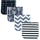 """Burp Cloths for Babies, Grey Wave Black Stripes Arrows Set, 20"""" by 10"""", 3 Layers, Cotton and Absorbent Fleece, 4 Pack"""