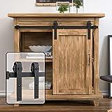 WINSOON 3FT Super Mini Sliding Barn Door Cabinet Hardware Kit for Single Door TV Stands Small Wardrobe Cabinets, J Shape Hang