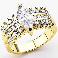 メッキゴールド女性のための贅沢なリング - キュービック・ジルコニア (CZ)
