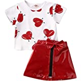 Seyurigaoka 6M-5Y Valentine's Day Outfit Baby Girl Love Heart T-Shirt Top+Zipper Leather Skirt Mini Dress Clothes Set