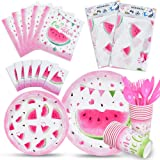 WERNNSAI Watermelon Party Tableware Set - Pool Summer Fruit Party Supplies for Girls Birthday Baby Shower Includes Disposable