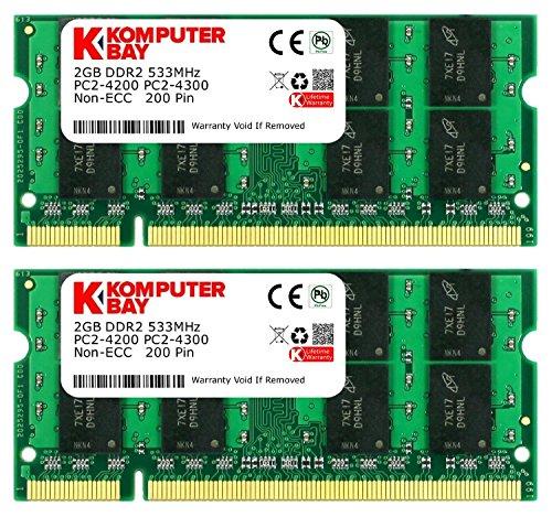 4GBメモリ 2枚組 DDR2 533MHz PC2-4200 2GBX2 DUAL 200pin SODIMM ノート パソコン用 増設メモリ 4GB デュアル