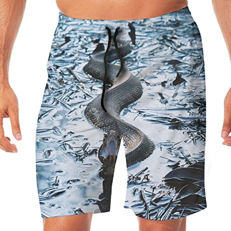 メンズ水着 ビーチショーツ ショートパンツ 蛇 スネーク スイムショーツ サーフトランクス 速乾 水陸両用 調節可能