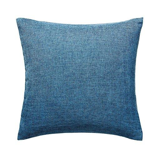U'Artlines クッションカバー 枕カバー 綿麻 正方形 装飾枕ケース シンプル 雰囲気 部屋飾り (ブルー)