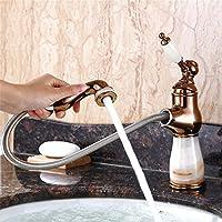 バスルームのシンクの蛇口 タップキッチンタップ洗面台の蛇口冷たいとお湯のミキサーバスルームのミキサー洗面器のミキサータップキッチン式または浴室用タップのホット&コールドアンティーク格納式ホワイトジェイド+ローズゴールド (Color : White Jade+Rose Gold)