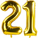 40 Inch Gold 21th Birthday Number Balloons 21 Foil Mylar Balloon for Anniversary Party Decoration