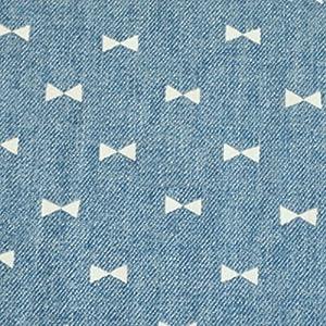 手芸のいとや 生地 ダブルガーゼ デニム風ガーゼ リボンブルー 生地幅-約108cm×1m 綿100%