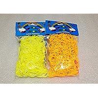 [Artasy ™][並行輸入品] DIY 二重リングゴム X オレンジゴムバンドブレスレット (イエロー〔外〕 x ホワイト〔内〕 + オレンジ) Loom Bands refill Pack - (600 + 600 pcs) rubber ring Color: Yellow X White + Orange