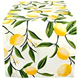 "DII Cotton Table Runner for Dinner Parties, Summer BBQ & Outdoor Picnics -14x108"", Lemon Bliss"