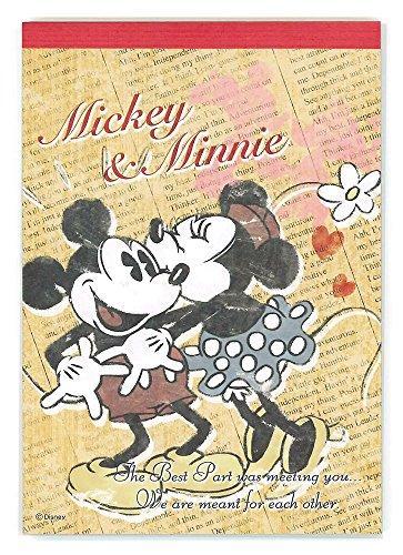 デルフィーノ A6メモ帳 ディズニー ミッキーミニー キス Dz 77495