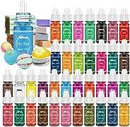 Bath Bomb Soap Dye - 36 Color Concentrated Food Grade Skin Safe Liquid Based Bath Bomb Colorant - Vibrant Rain