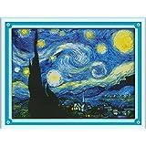 Joy Sunday Cross Stitch Kit 14CT Stamped Embroidery Kits Precise Printed Needlework- The Starry Night of Van Gogh 4737CM