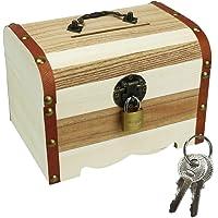 南京錠付き 貯金箱 宝箱 大き目投入口 お札が折らずに入る アンティーク調 シンプル (ホワイト)