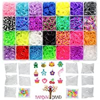 8400 Band MEGA Box Rainbow Braid Loom Refill Set - US Lab Tested Free of Toxins - 28 Colors, 12 Charms & 500 Clips - Brightest Colors Including Glitter, Tie Dye, Jelly, Glow in the Dark & Metallic [並行輸入品]