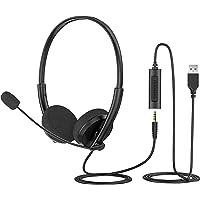 Tsukuyoo ヘッドセット マイク テレワーク PC用ヘッドセット USB式 両耳 マイク付き スピーカーミュート機…